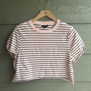 Topshop casual pink & black striped crop top